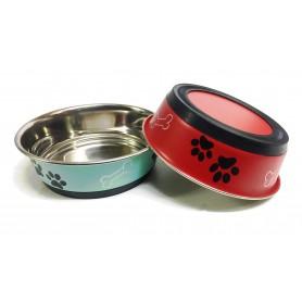 02 Comedero Antideslizante de Acero Inox. Rojo y Azul 24cm/2250ml