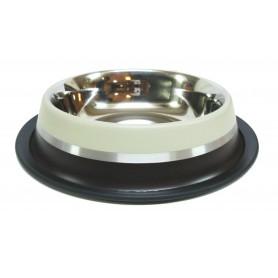 04 Comedero Antideslizante de Acero Inox. Marrón 22cm/1550ml