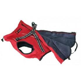 Abrigo rojo de Spandex con arnes y forro de lana (65cm)