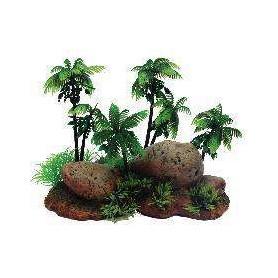 Decoración Rocas con Palmeras y Plantas 22x13,5x15cm