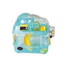 Jaula de Hamster pequeña con gimnasio, rueda de ejercicio y contador eléctrico de vueltas