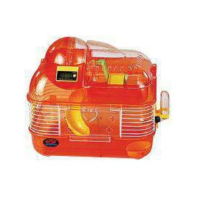 Jaula de Hamster mediana con gimnasio, rueda de ejercicio y contador eléctrico de vueltas
