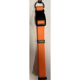 Collar fluorescente naranja en nylon revestida con silicona 1,5x32-43cm