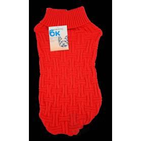 Jersey rojo de punto trenzado para perros 45cm