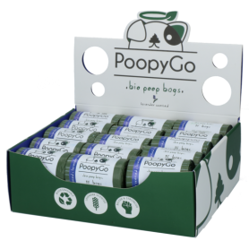 PoopyGo - Caja expositora Bolsas higiénicas Bio Lavanda 30 rollos